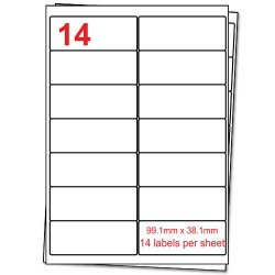 A4 Label Sheets, 14 Labels per sheet