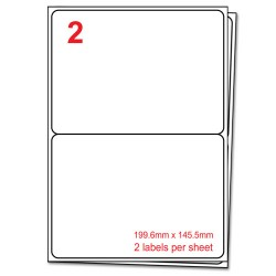 A4 Label Sheets, 2 Labels per sheet