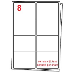 A4 Label Sheets, 8 Labels per sheet